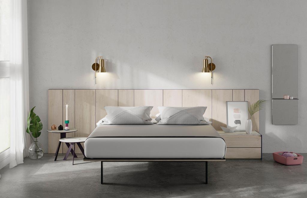 Fotografía de la composición del dormitorio de matrimonio con el cabecero AX