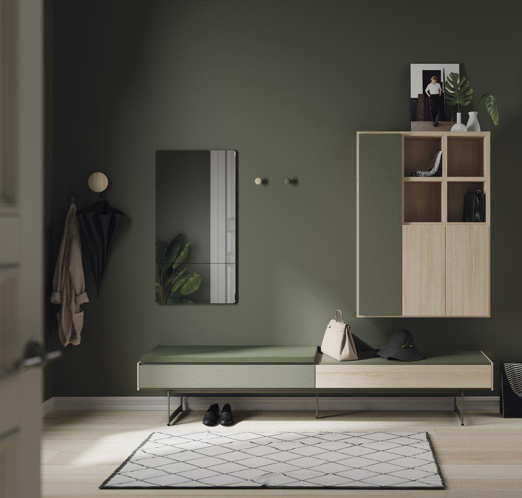 Composición de recibidor moderno con espejo vertical