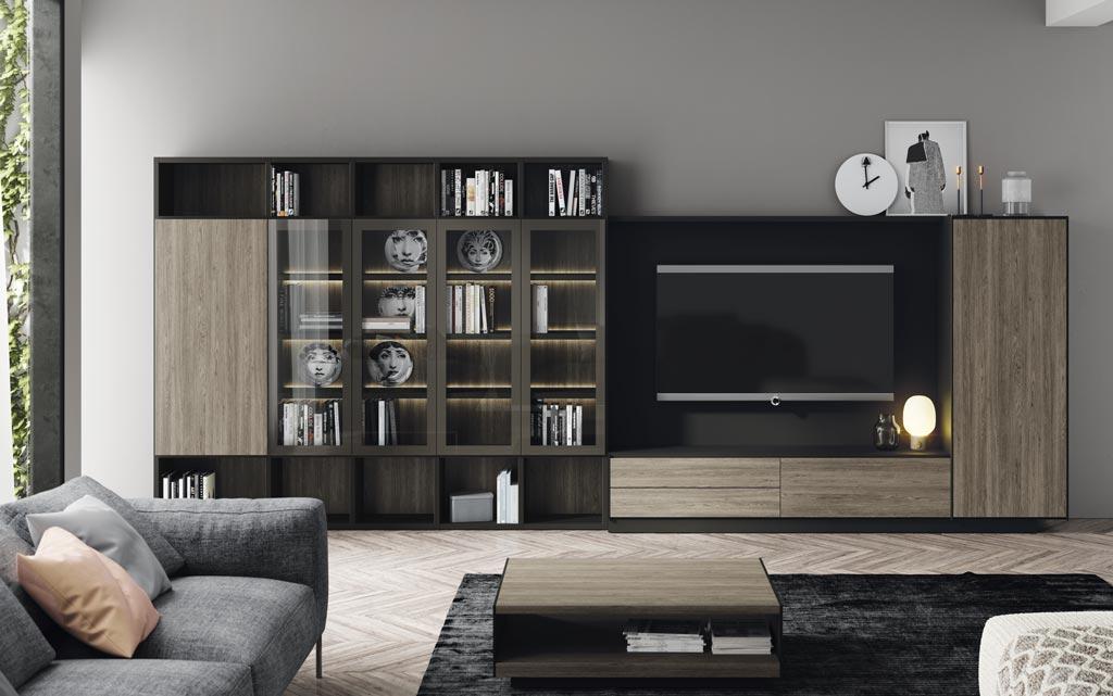 Composición de salón Addbox+Addliving con vitrinas y panel TV, la unión perfecta de bonito y funcional