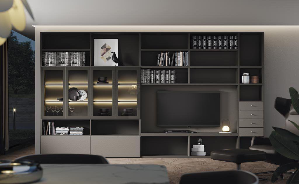 Composición de salón Addbox con vitrinas iluminadas con luz led