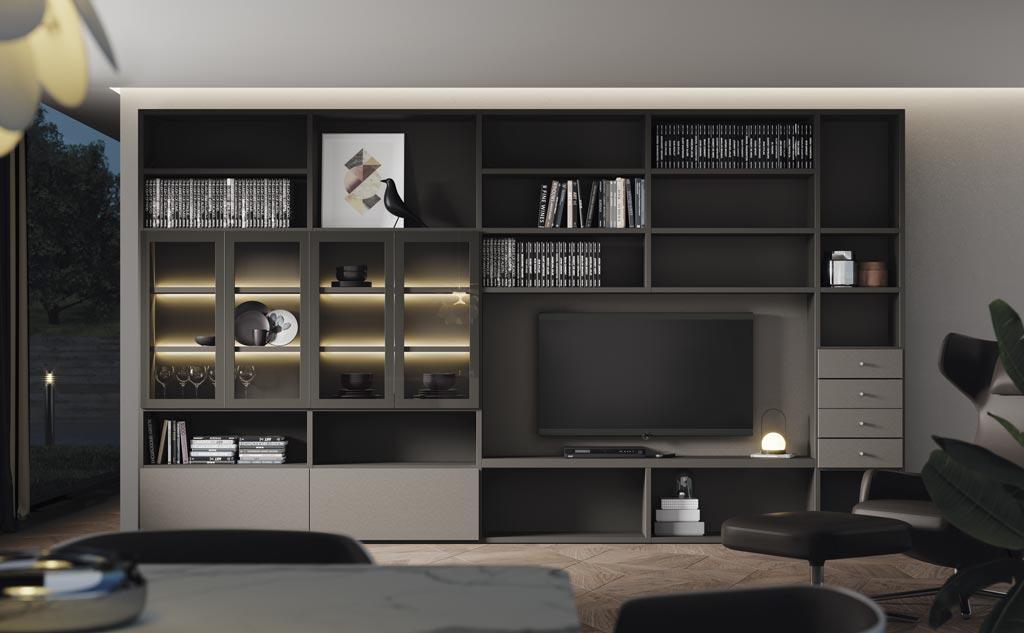 Fotografía de la composición de salón con módulos de la colección AddBox
