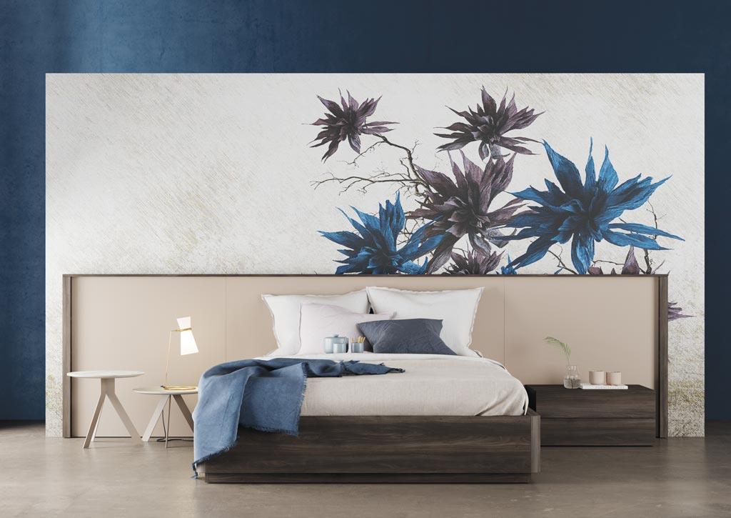 Fotografía de la composición de dormitorio de matrimonio con el cabecero Homage