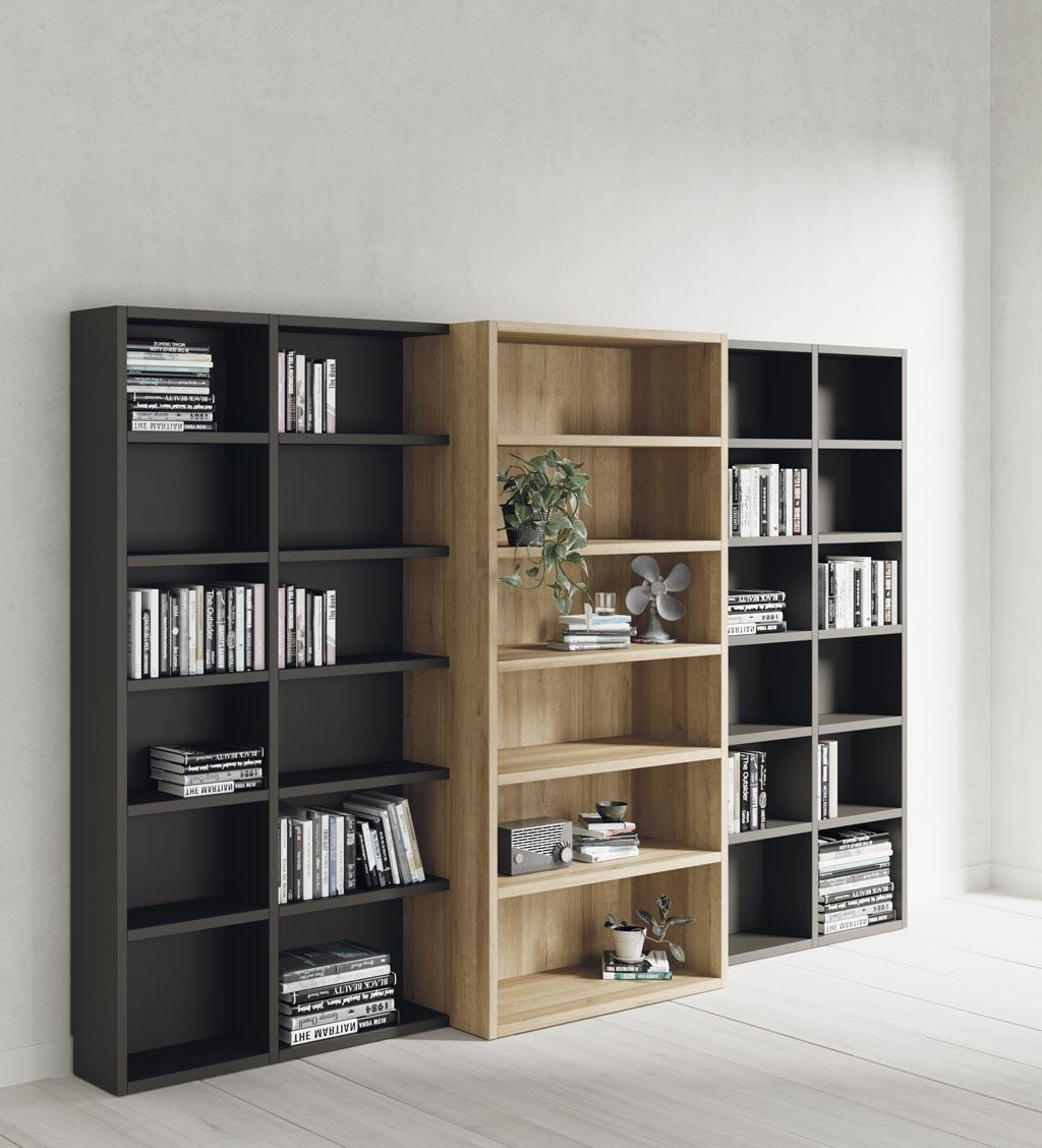 Estantería librería con muebles de diferentes fondos