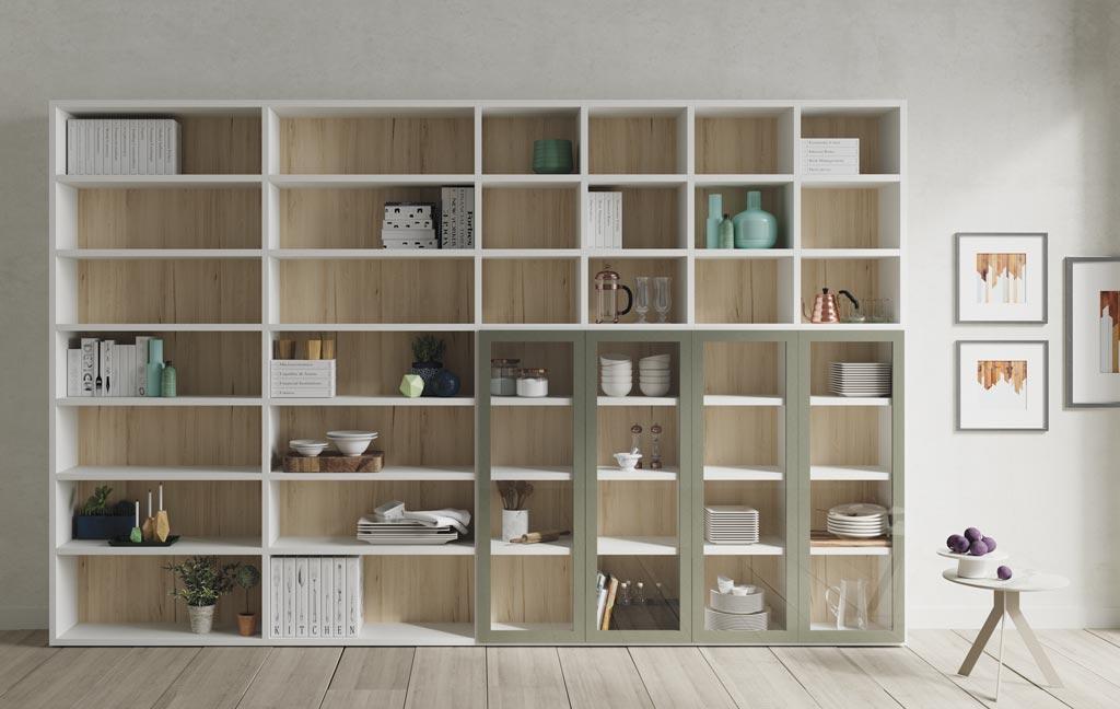Librería de gran tamaño con una zona con puertas