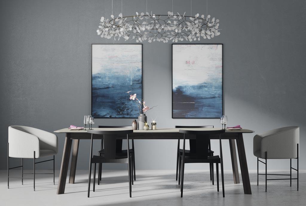 Fotografía de la mesa fija con el sobre porcelanico