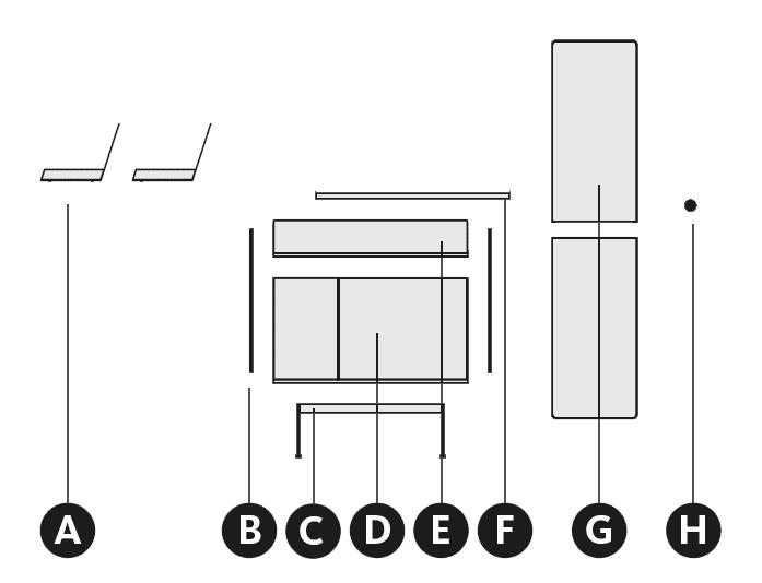 Desglose de los muebles del aparador para el recibidor