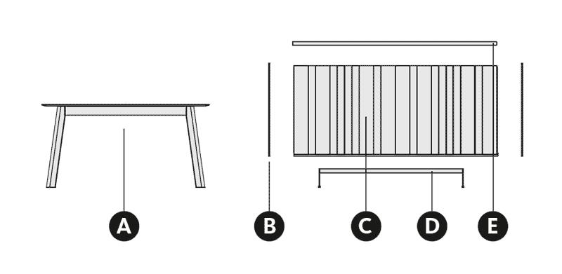 Desglose de la composición con mesa de comedor y aparador