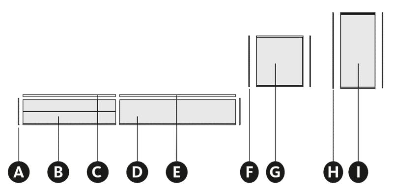 Desglose de la composición de salón colgada en la pared