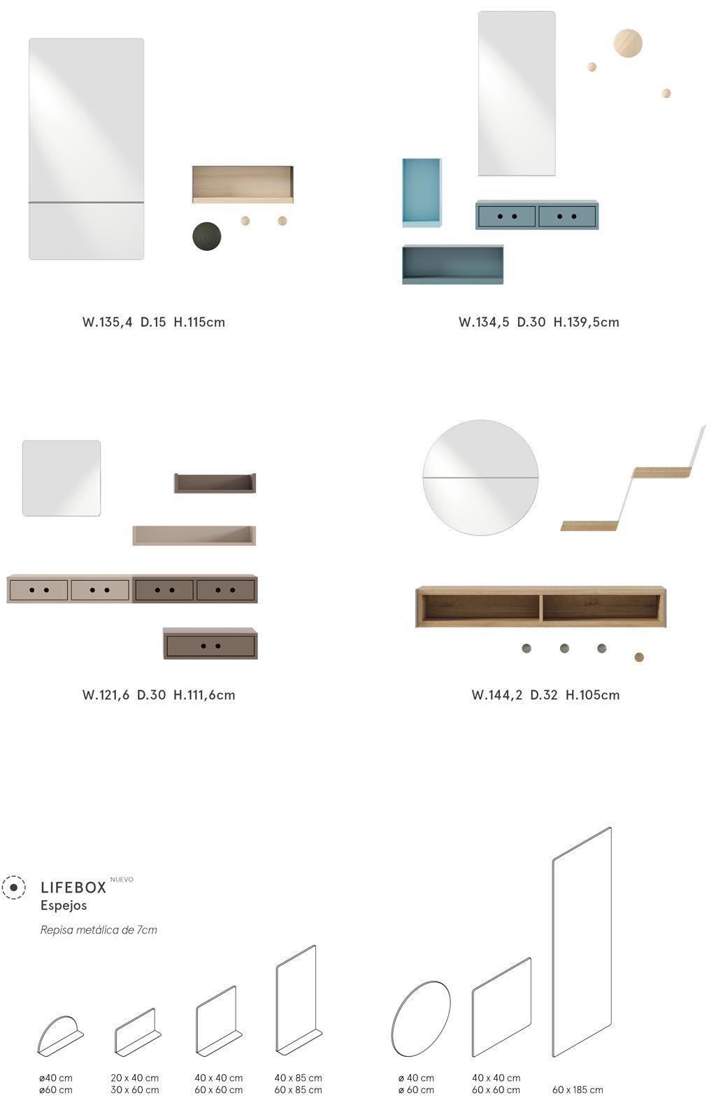 Diferentes opciones de recibidores con espejo