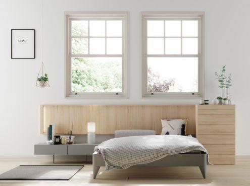 Dormitorio con el cabecero Homage colgado