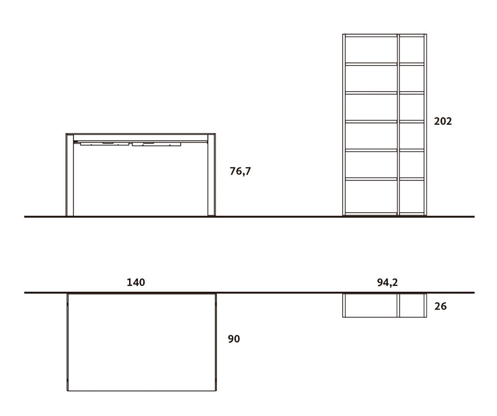 Medidas exteriores de la mesa de comedor-cocina y las estanterías