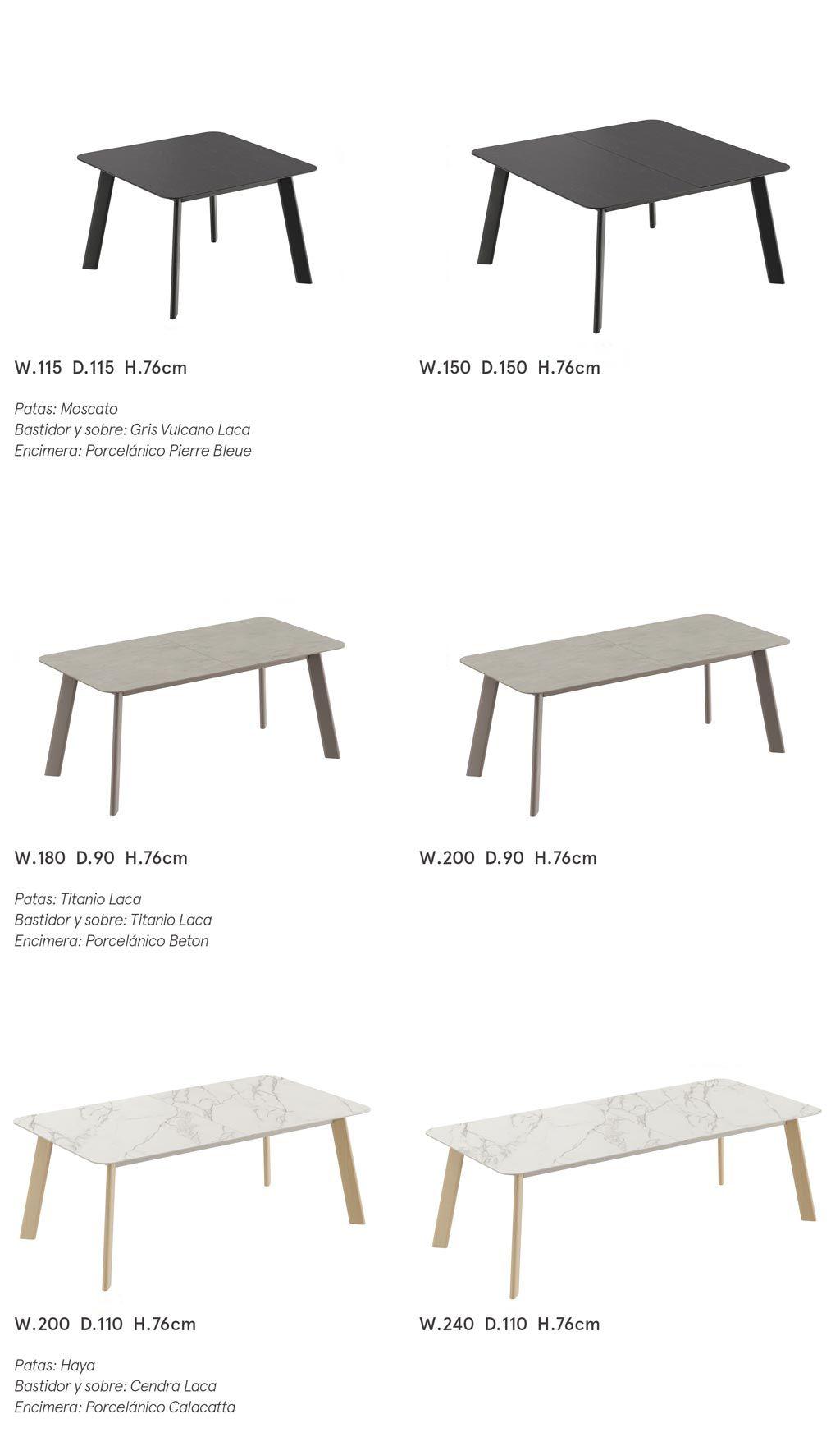 Diferentes mesas de comedor fijas del catálogo Día
