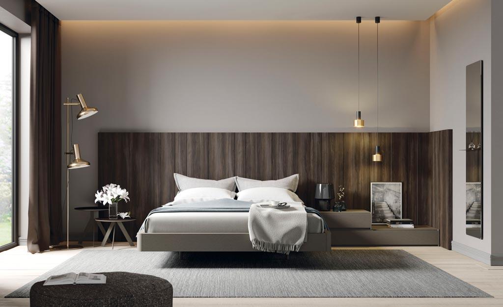 Cabecero de cama modelo AV con las alas AW del catálogo de dormitorios Noche