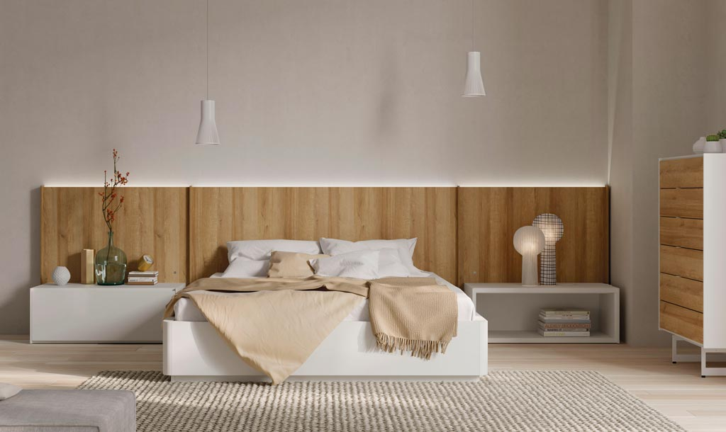 Cabecero modelo New Kandor con el canapé Tau de la colección Noche fabricada por Lagrama