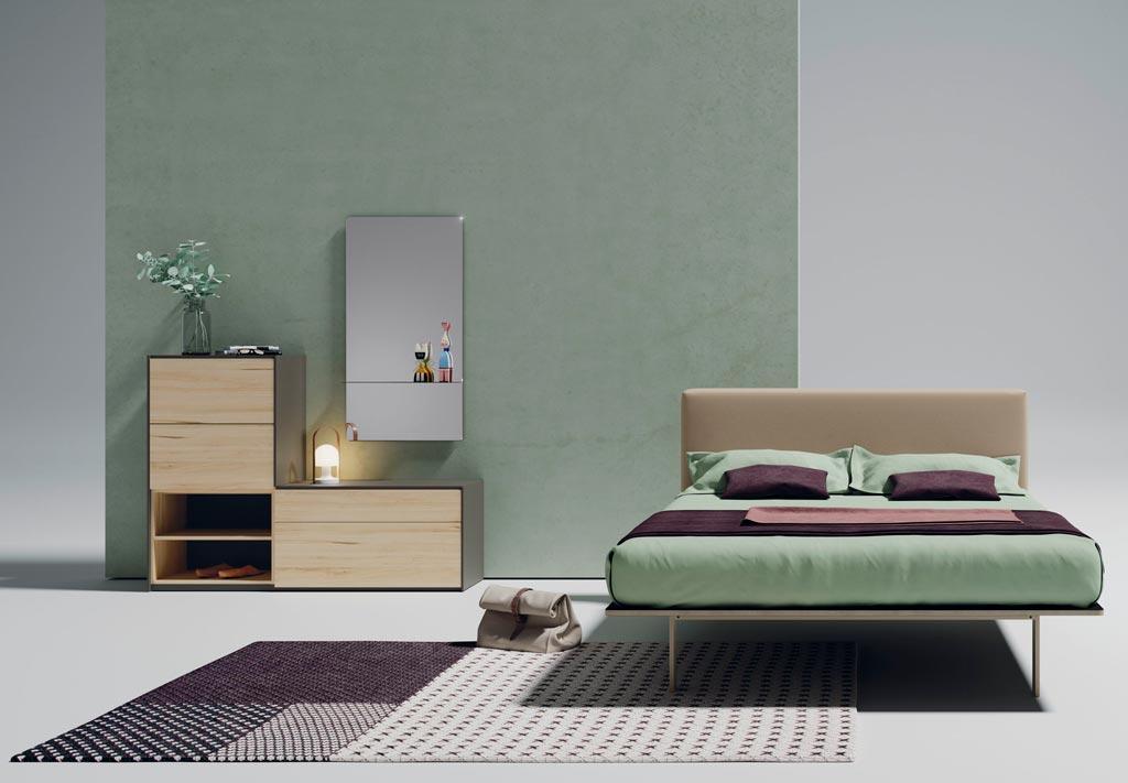 Cabecero tapizado modelo Fat con tocador y espejo del catálogo Noche de Lagrama