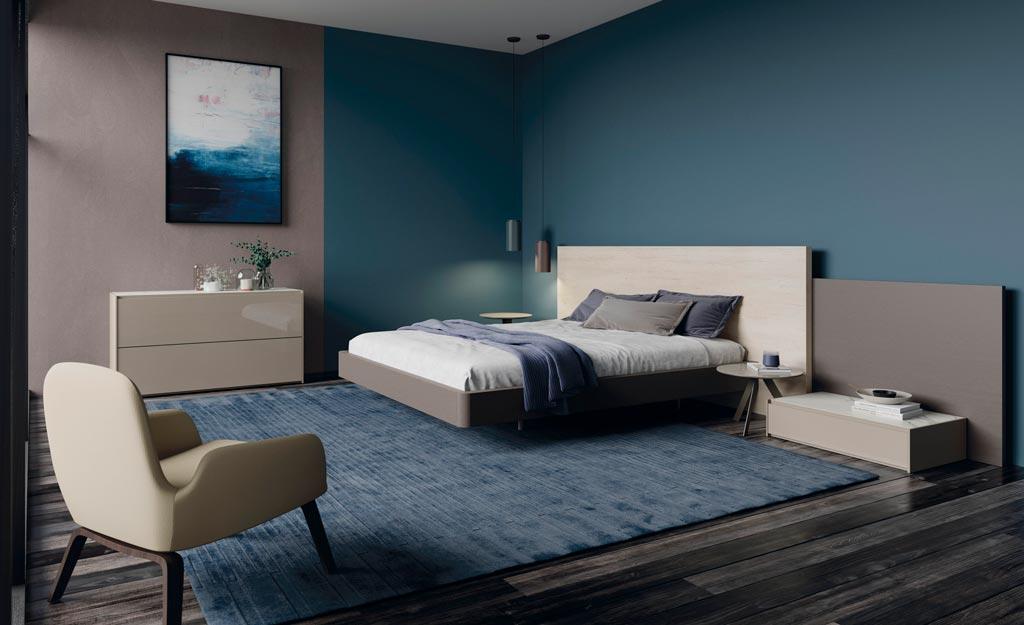 Dormitorio de matrimonio con el cabezal modelo Plane fabricado por Lagrama