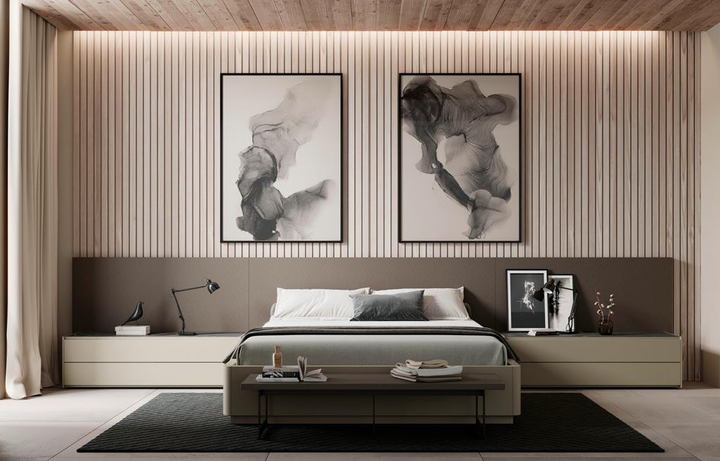 Habitación de matrimonio con el cabecero modelo Liso de la colección Noche