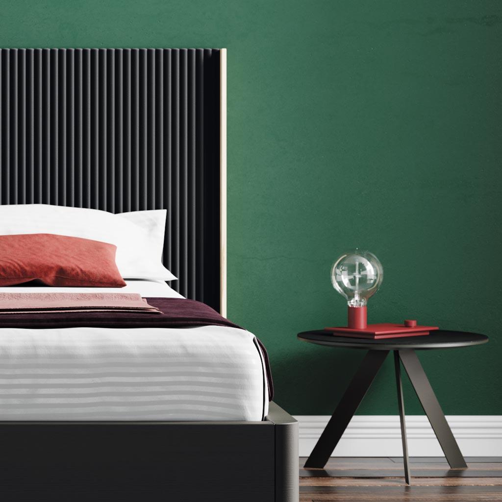 Fotografía de detalle del dormitorio con el cabecero New Kandor