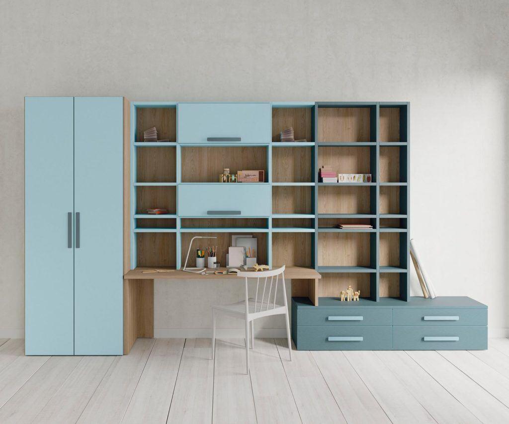 Composición con armario, estantería, escritorio y cajonera