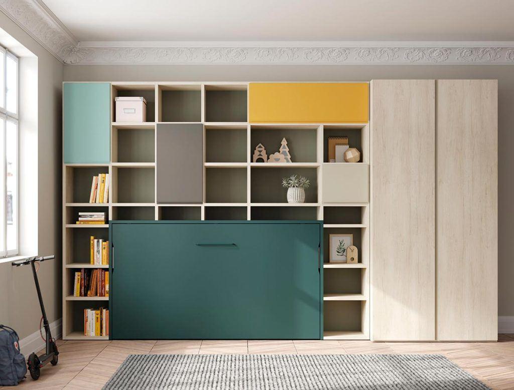 Composición de cama abatible Horizontal, estantería Airbox y armario Dressbox