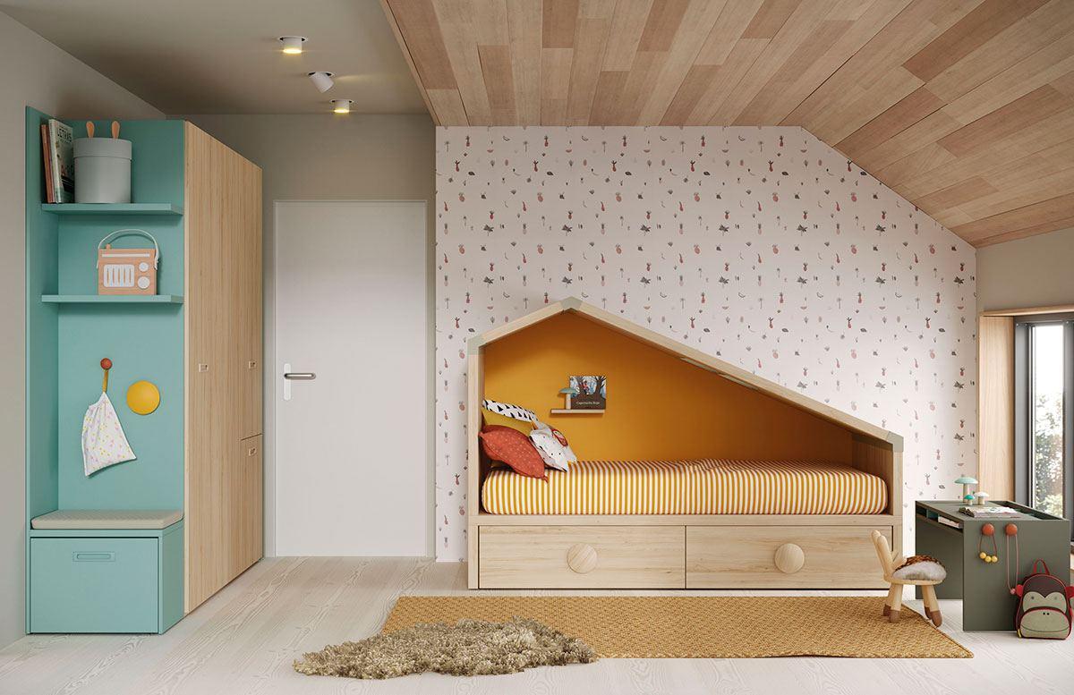 Composición cama cabaña Cottage