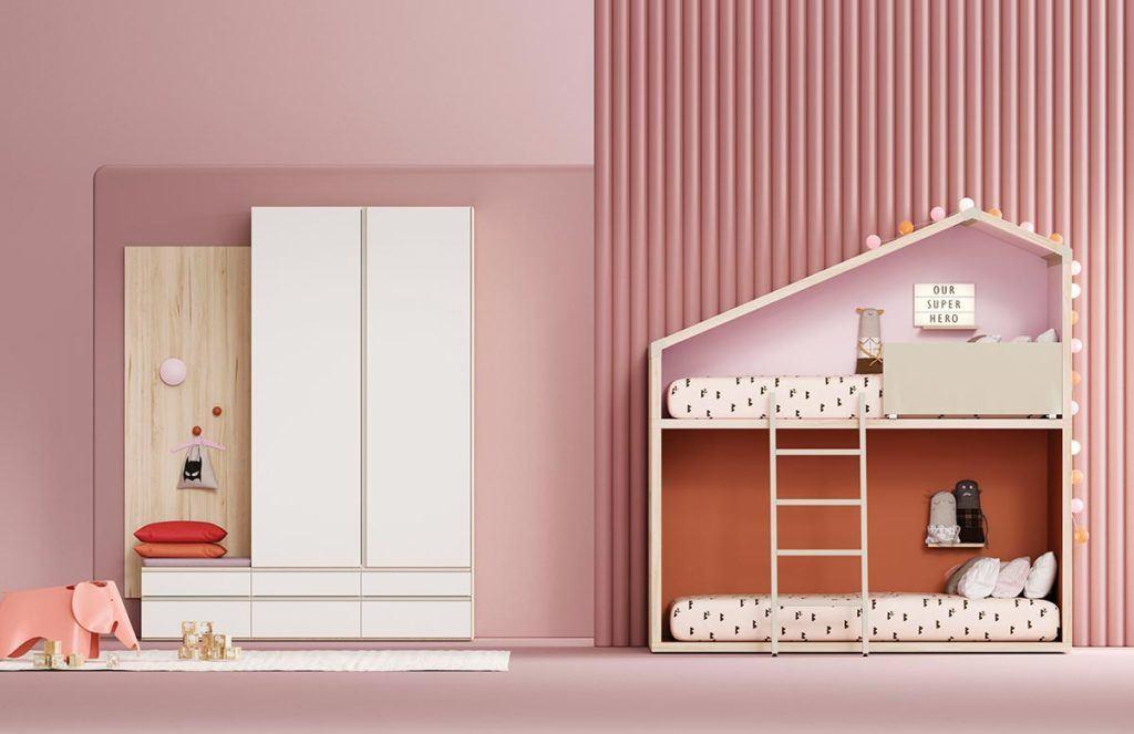 Composición de cama Cottage con armario Dressbox