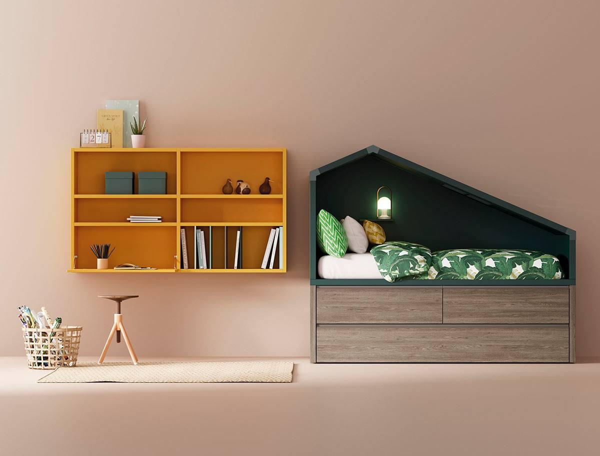 Composición cama Cottage y estantería Airbox