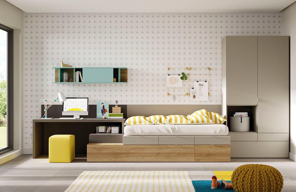 Composición de habitación juvenil con cama Kubox y armario Dressbox