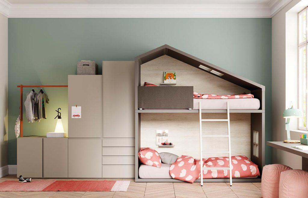 Composición Cottage con armario DressBox, estantería Airbox y mesa Levita
