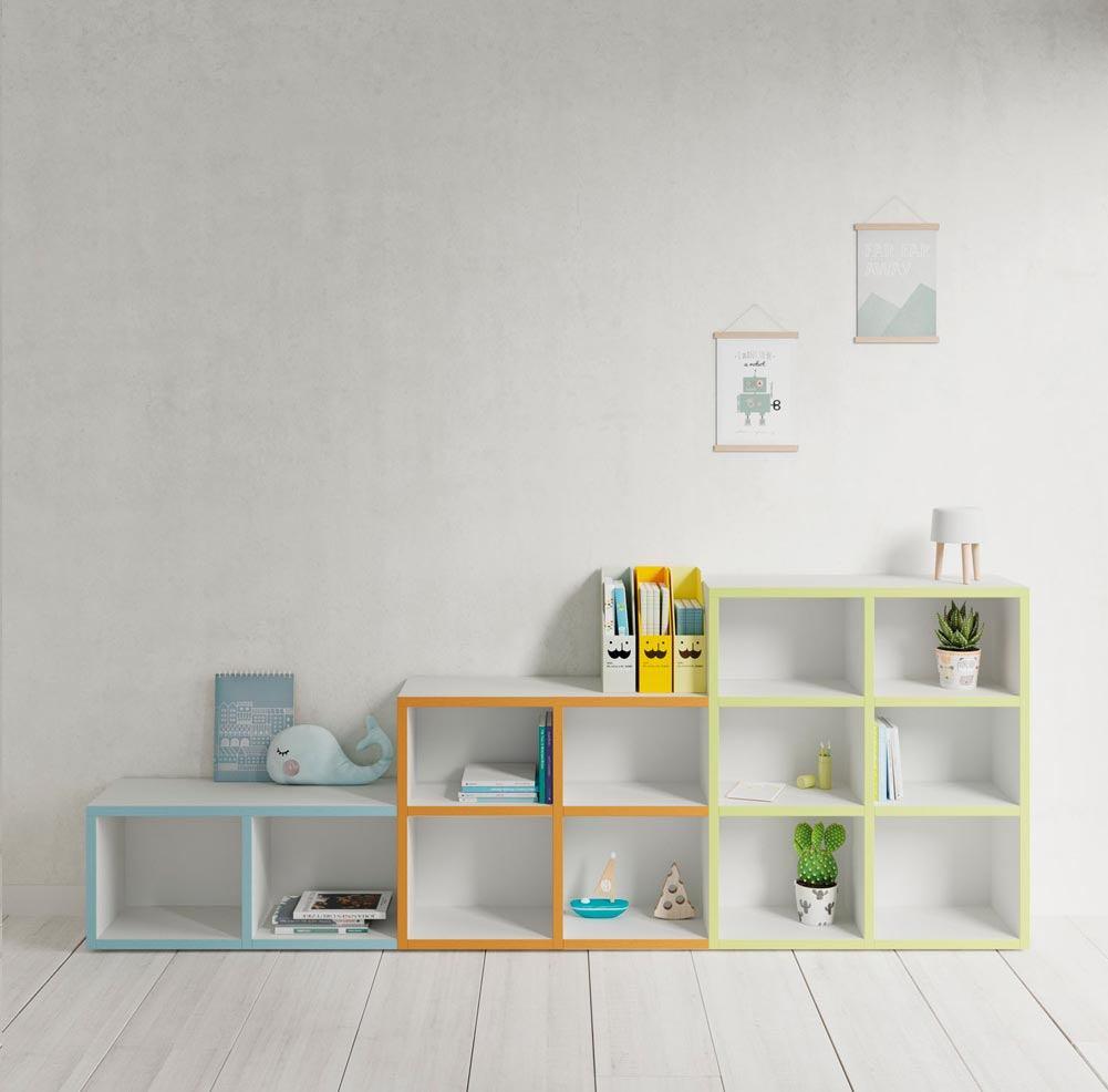 Composición estantería con cubos y frentes abiertos