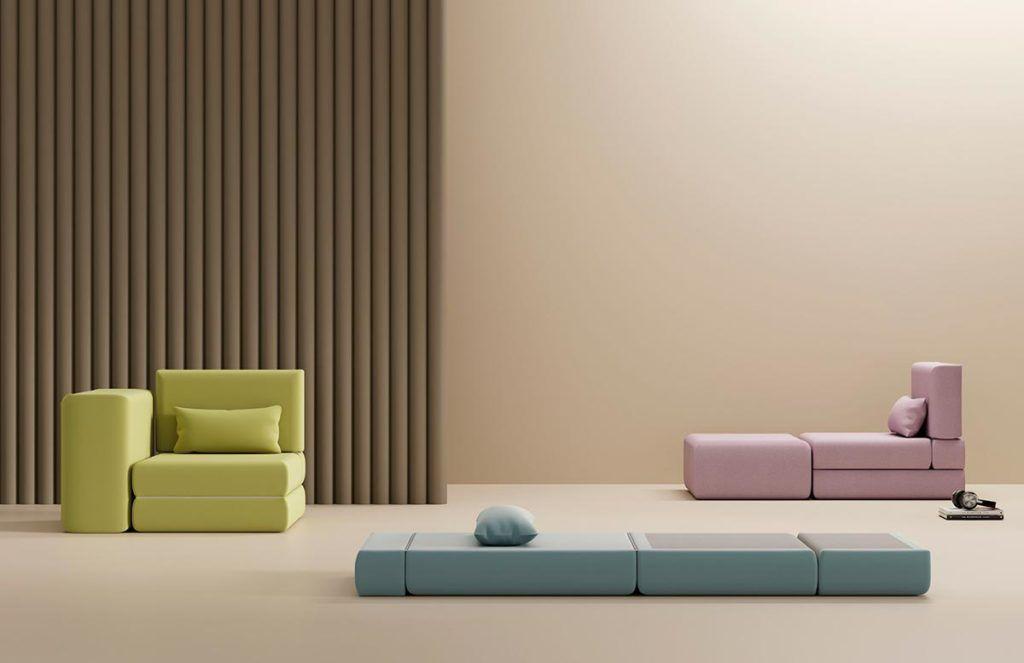 Composición de sillón convertible en colchón