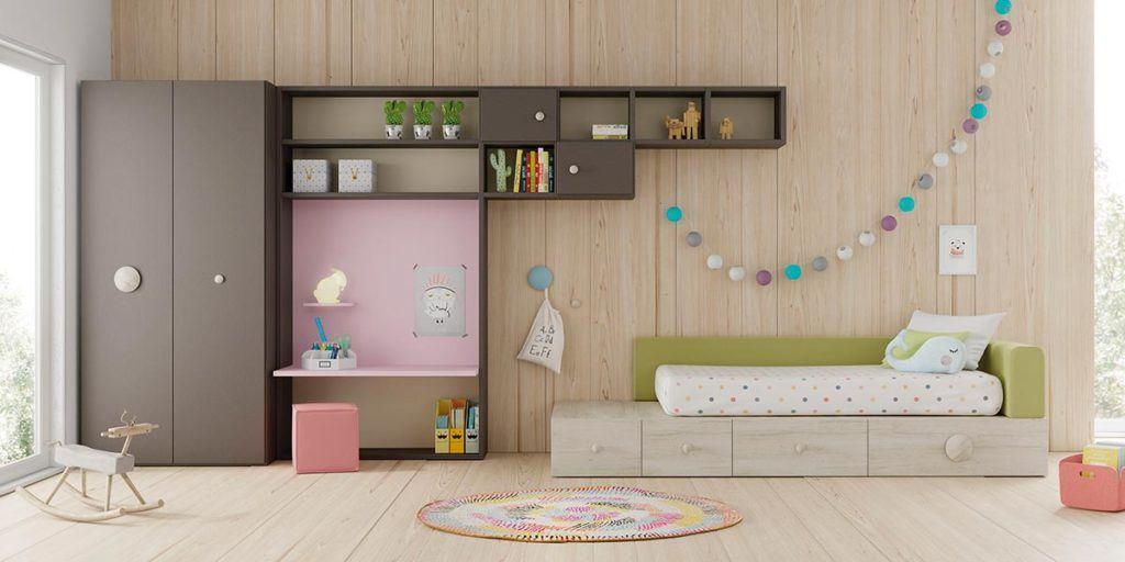Composición de habitación juvenil con cama Kubox, estantería Airbox y armario Dressbox