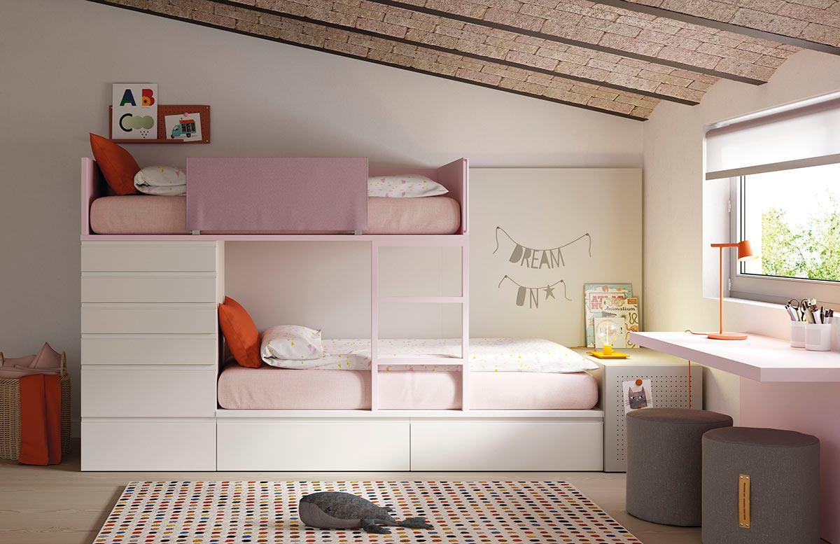 Habitación con litera tren, armario Dressbox y estantería AirBox