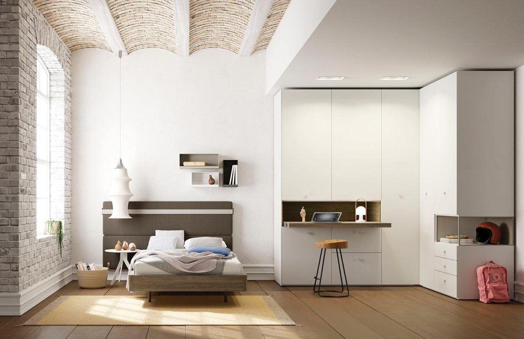 Composición habitación juvenil con cama Aro, armario Dressbox y cabezal Picnic