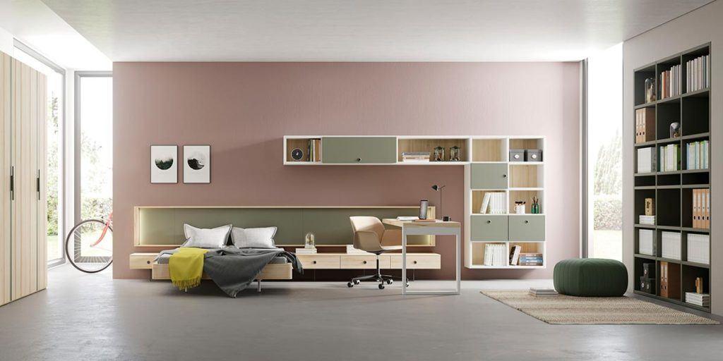 Composición de habitación juvenil con cama Aro y estantería Airbox