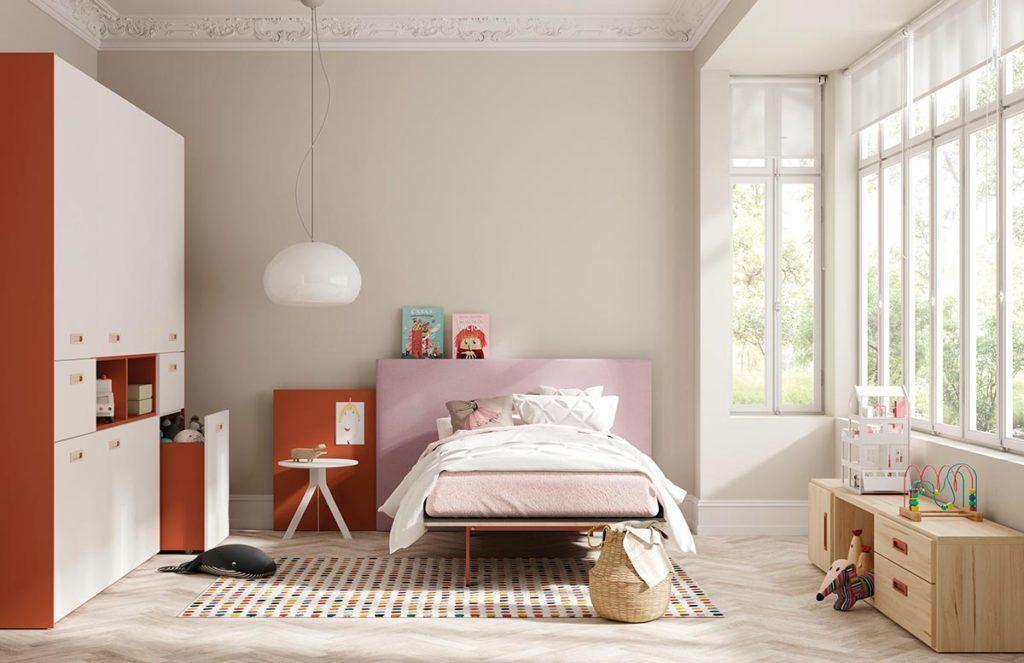 Composición juvenil con cama Fenólica, cabezal Paralex y armario Dressbox