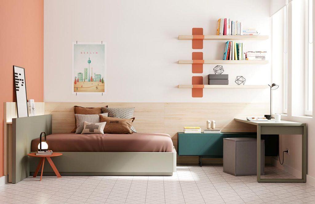 Composición de habitación juvenil con canapé Tau y cómoda Addliving