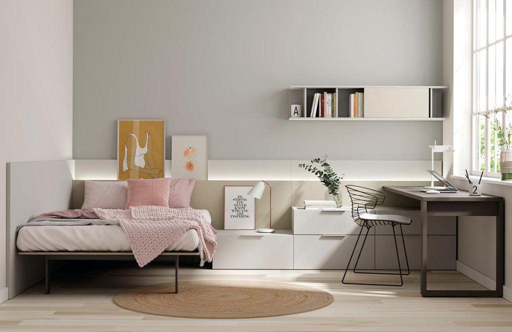 Composición de habitación juvenil con cama Fenólica, armario Dressbox y estantería Airbox
