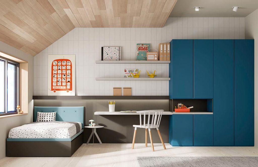 Composición dormitorio juvenil con cama nido Frame, armario Dressbox y mesa Levita