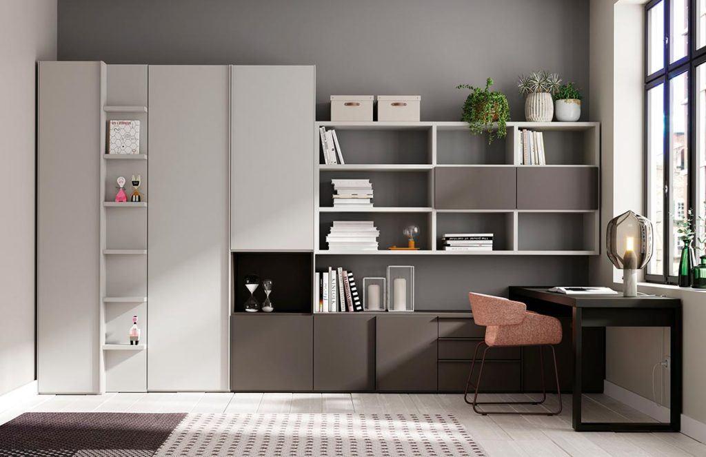 Oficina con armario Dressbox y estantería Airbox