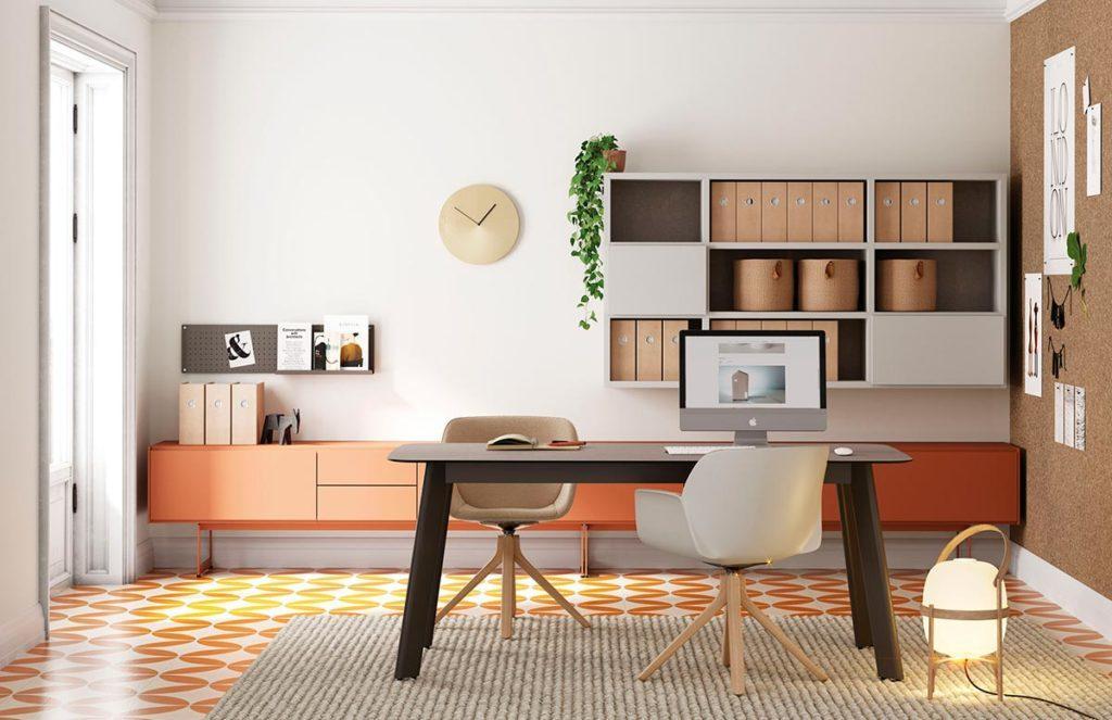 Oficina con mesa fija Compact, sistema Addliving y estanteria Airbox